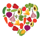 Heart with fruits and veggies