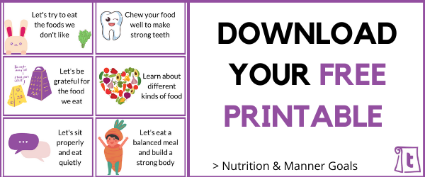 Free printable with nutrition goal and manners that Japanese Children are encourage to follow. Free lunchbox notes that you can put in your kid's lunchbox!