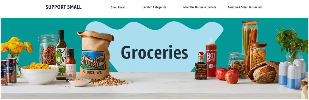 Amazon Prime Day 2020. Support to U.S. small businesses, Groceries section.