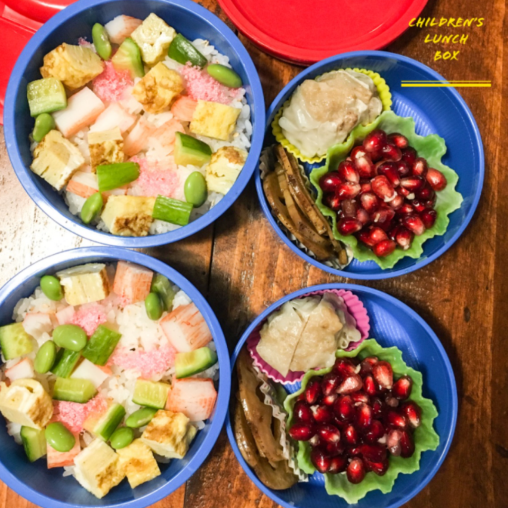 Kids lunch idea with pomegranate seeds. Immunity booster. Healthy foods. Teuko lunchbox community.