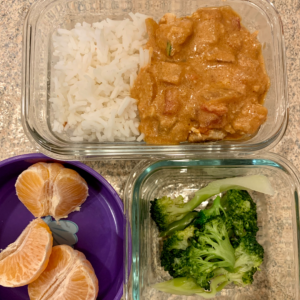 Kids lunchbox idea with India Cuisine. Chicken curry. Teuko lunchbox community.