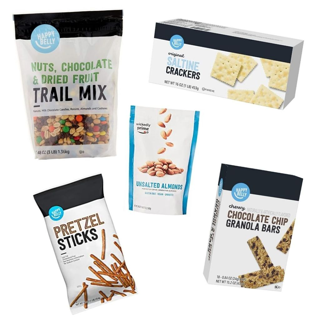 Trail mix, crackers, pretzels, almonds, granola bars. Save 20% on snacks from Amazon brands. Amazon Prime Day 2020.