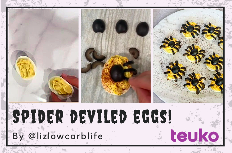 Spider Deviled Eggs Easy Recipe by @lizlowcarblife