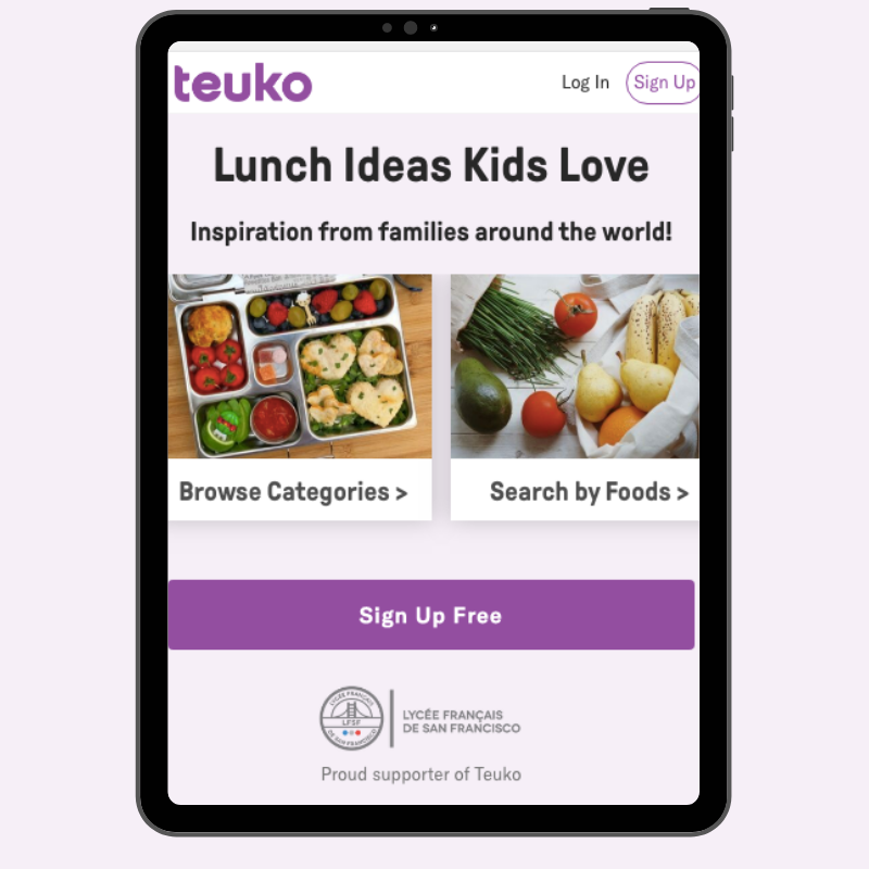 See what other kids actually eat by visiting Teuko, the lunchbox community.