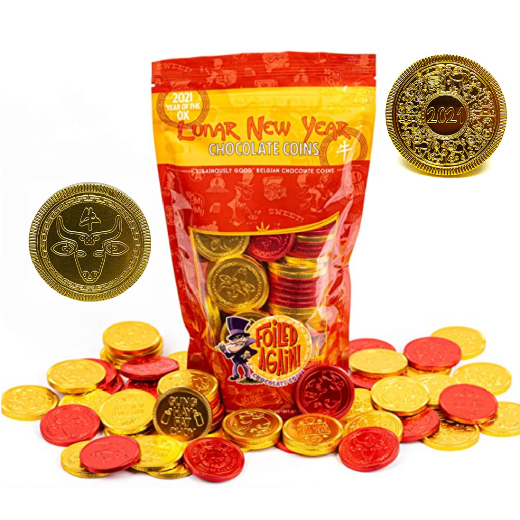 Chinese New Year. Year of the Ox. Chinese New Year 2021. Belgian chocolate coins. Lunar New Year.
