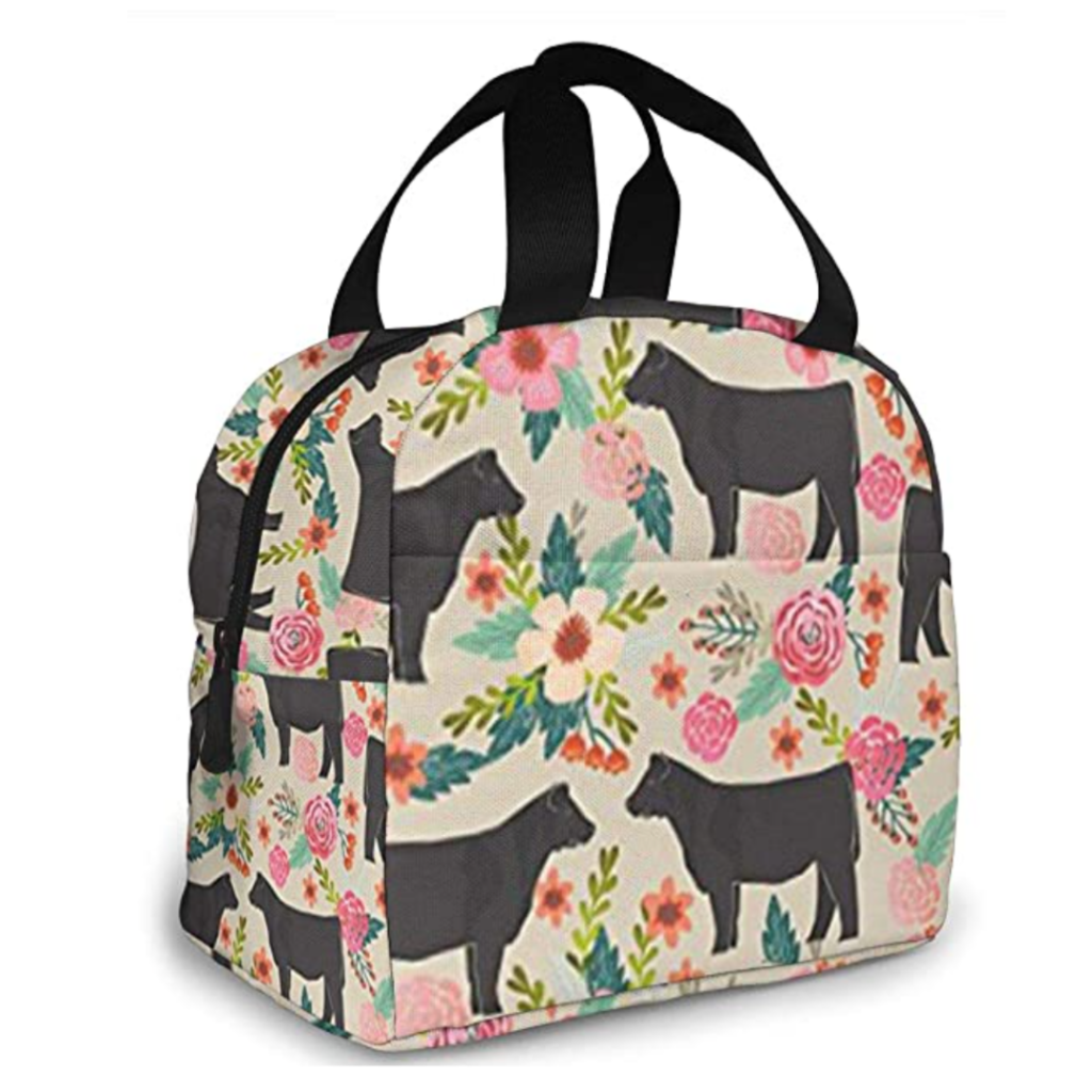 Cows and Flowers Lunch Bag. Chinese New Year. Lunar New Year. Year of the Ox. Chinese New Year 2021. Lunar New Year 2021.