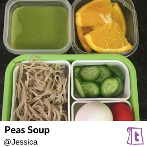 Peas and spinach makes a simple and healthy green soup.