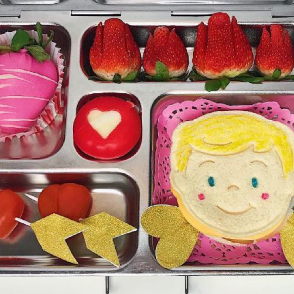 Valentine's day lunchbox idea for kids with cupid and red roses.