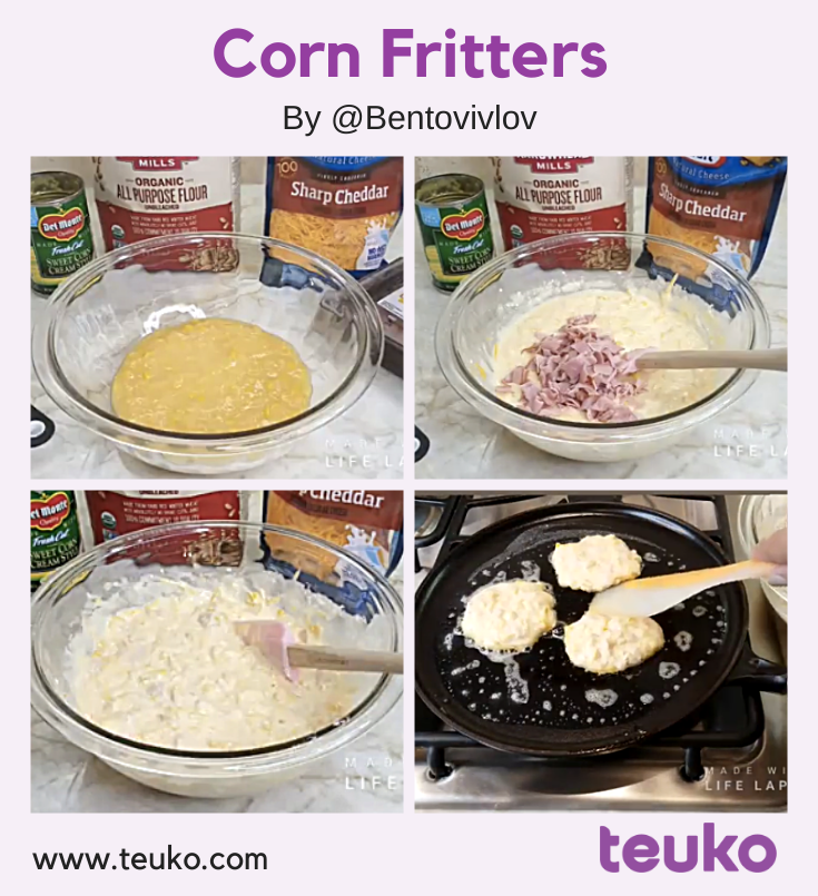 Corn Fritters Made Easy. A recipe by @bentovivlov shared with the Teuko community.