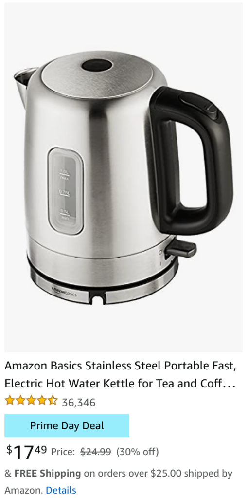 Amazon Basics Stainless Steel Portable Fast, Electric Hot Water Kettle for Tea and Coffee Amazon Prime Day Deal