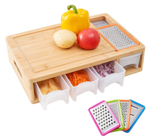 Wood Chopping Board with Containers, Food Dropping Zone and Vegetable Tray with Lid